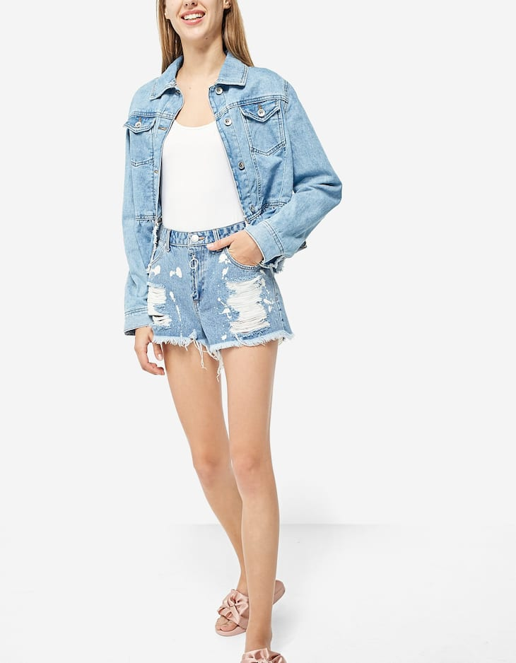 Short denim cremallera frontal