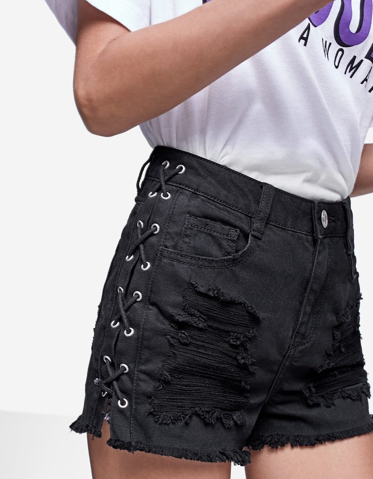 Pantalons curts denim lace up