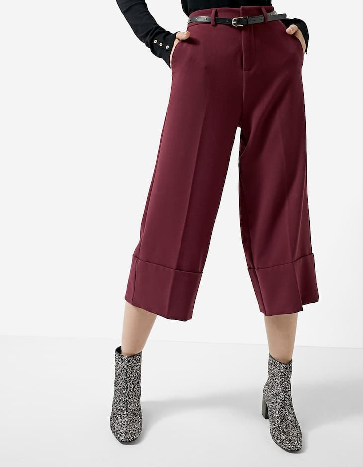 Cropped wide leg trousers with belt