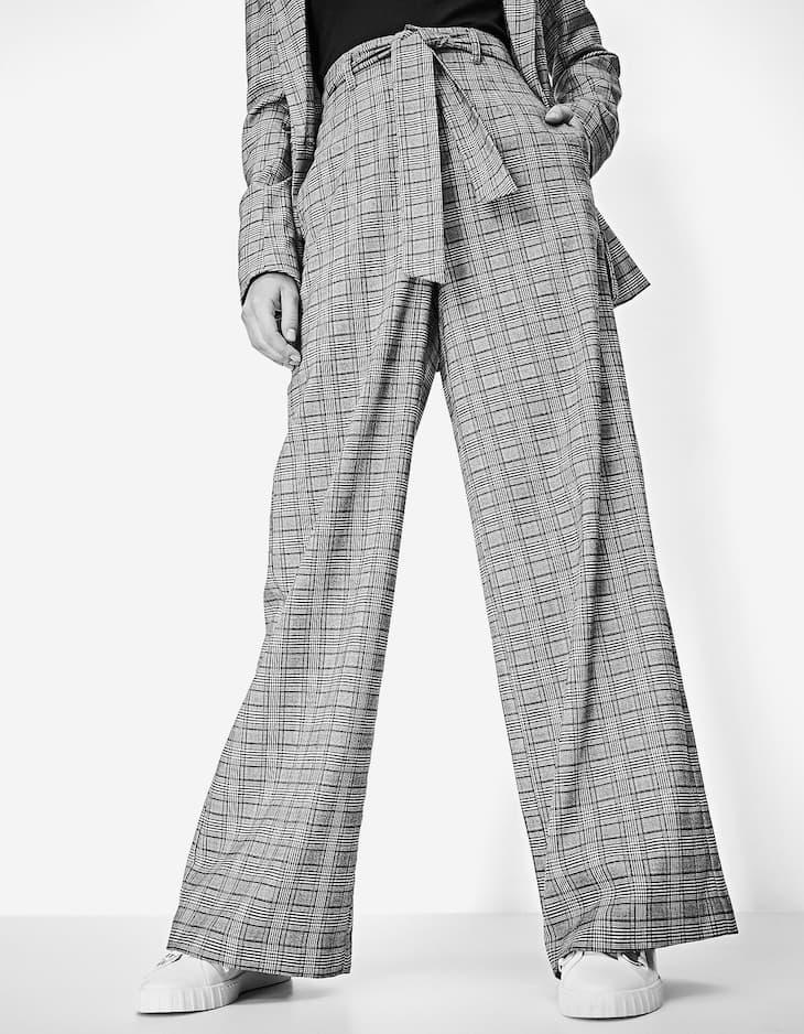 Pantalon ancho de cuadros