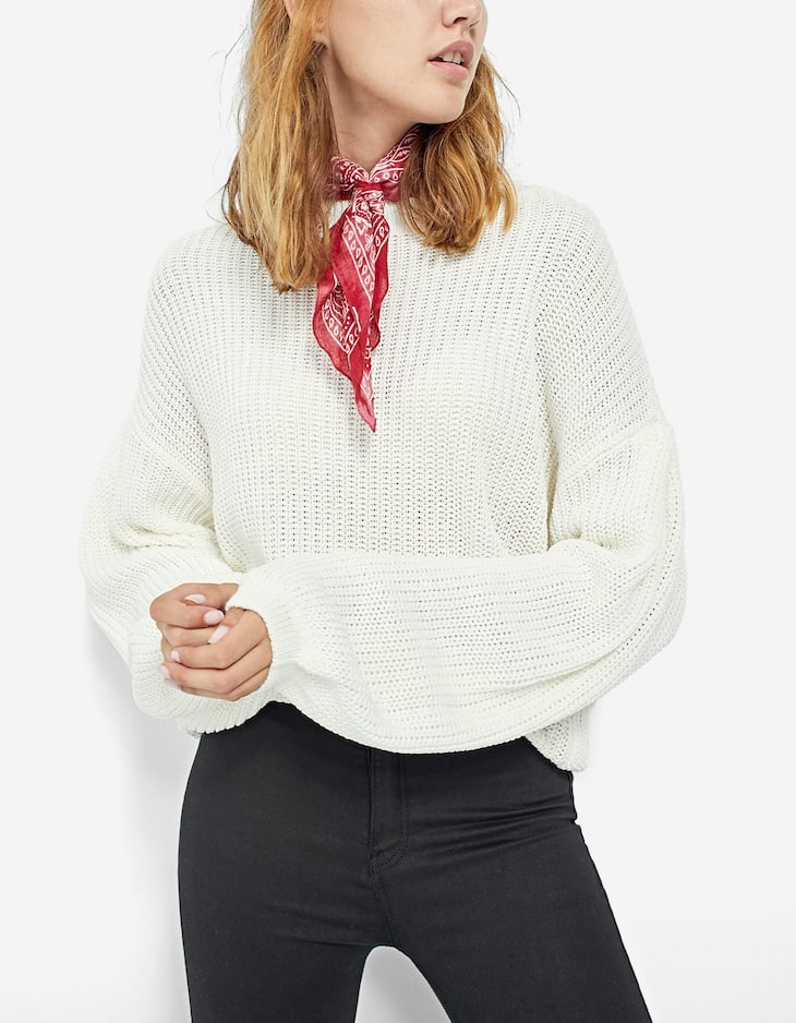 Sweater with cinched waist and bishop sleeves