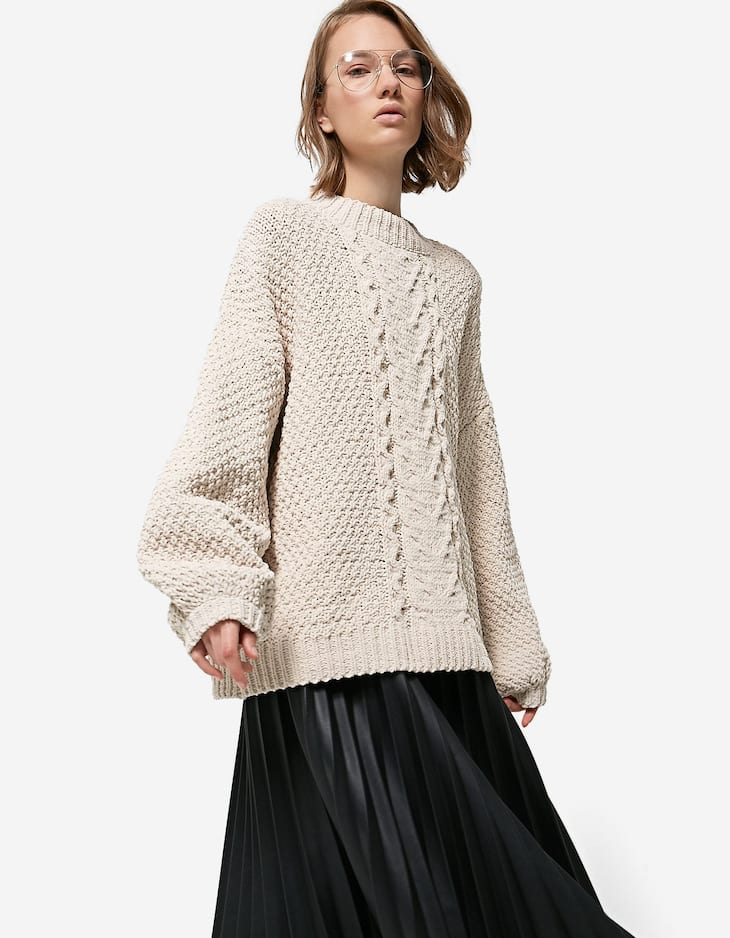 Chenille sweater with balloon sleeves
