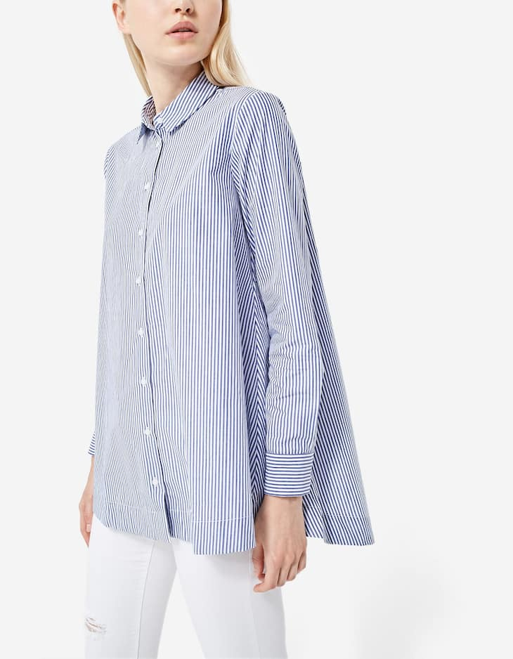 Striped oversized A-line shirt