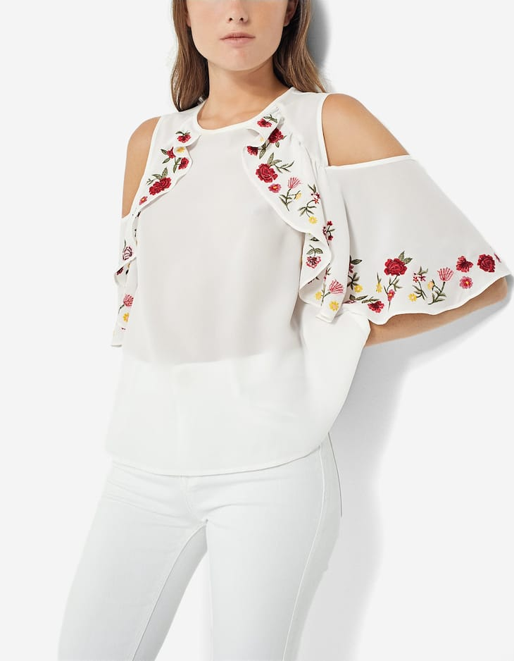 Embroidered cut out top