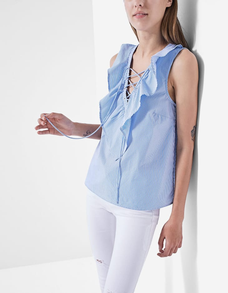 Camisa popelina lace up