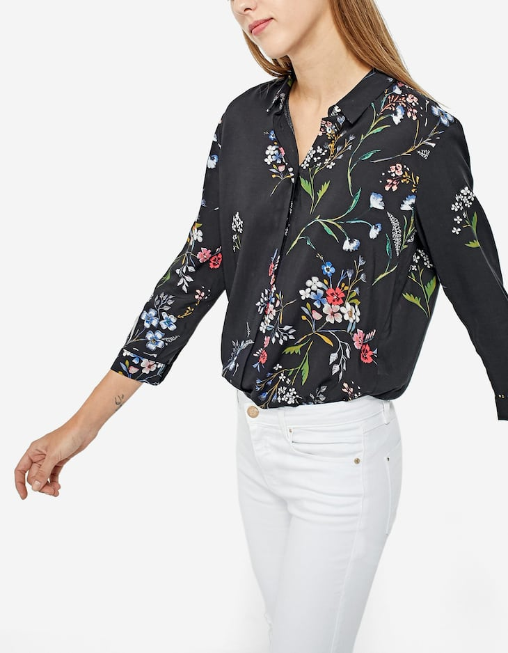 Printed shirt with 3/4 length sleeves
