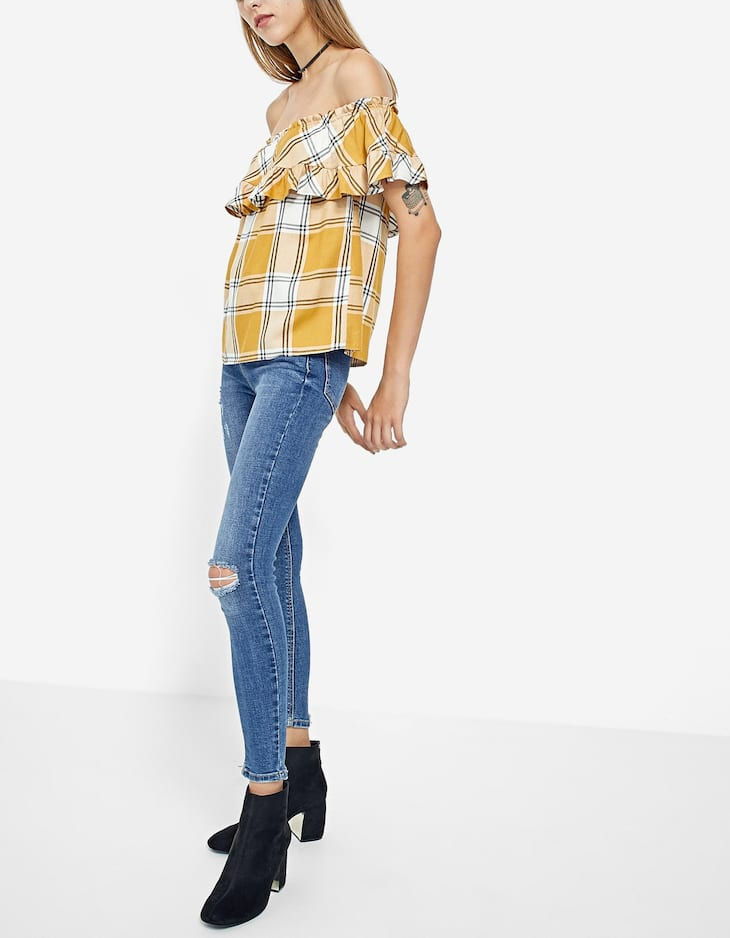 Checked off-the-shoulder shirt
