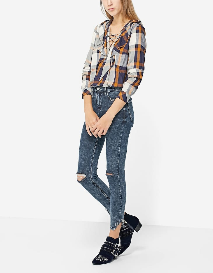 Checked shirt with lace-up neckline