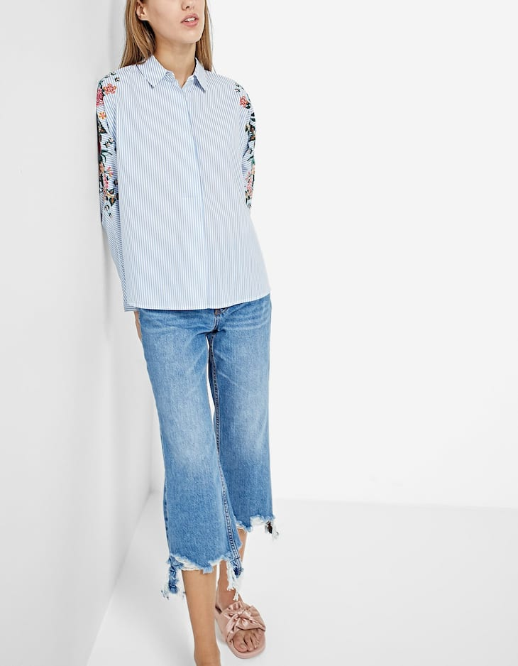 Embroidered shirt with batwing sleeves
