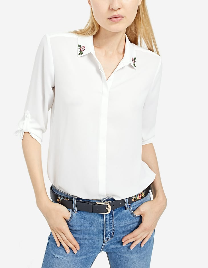 Shirt with embroidered collar