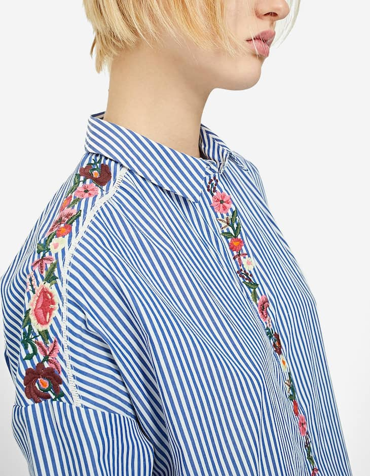 Poplin shirt with embroidered detail
