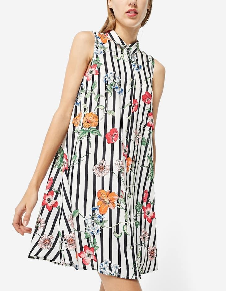 Платье-рубашка с цветами