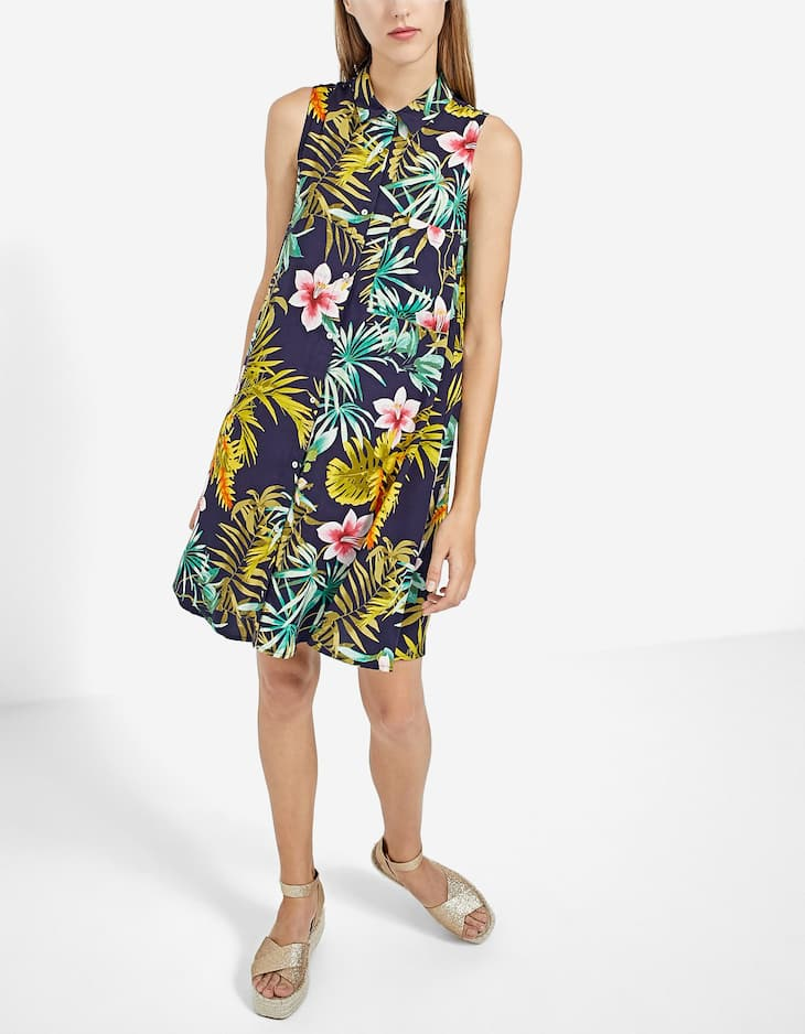 Tropical print shirt dress