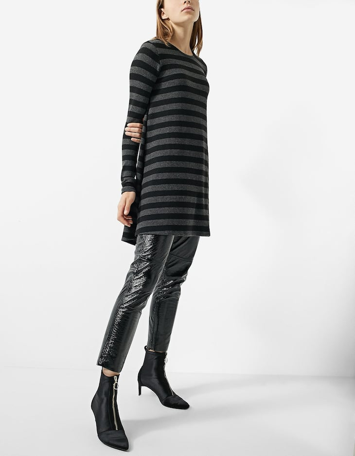 Napped cotton A-line dress with stripes