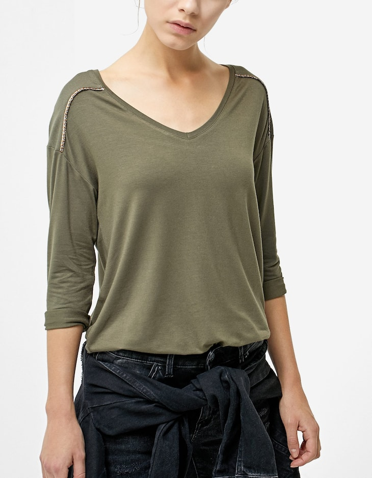 Embellished T-shirt in two materials