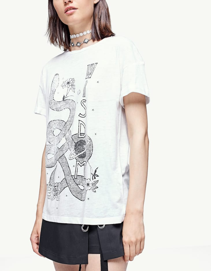 Devoré T-shirt with esoteric print