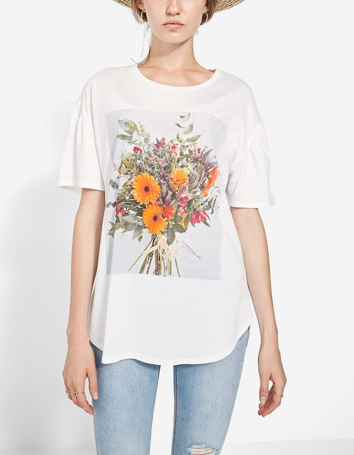 Two-material floral T-shirt