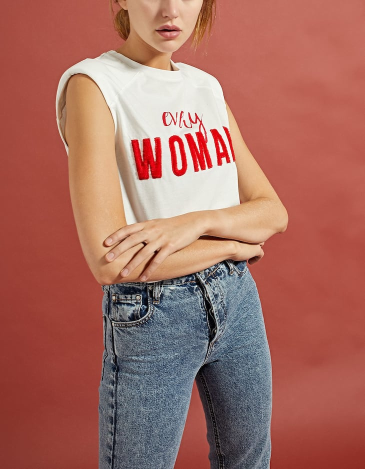 'Every Woman' T-shirt with shoulder pads