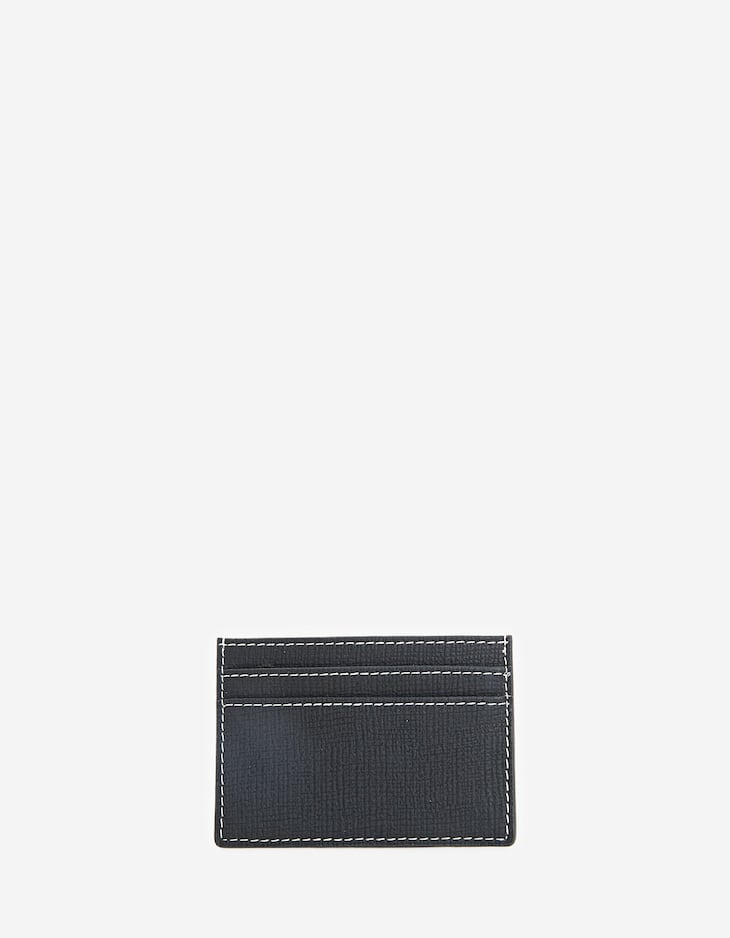 Card holder with topstitching detail