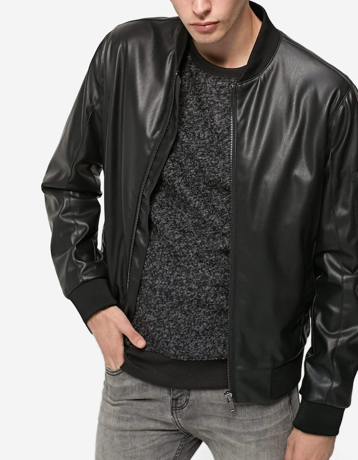 Leather-look bomber jacket