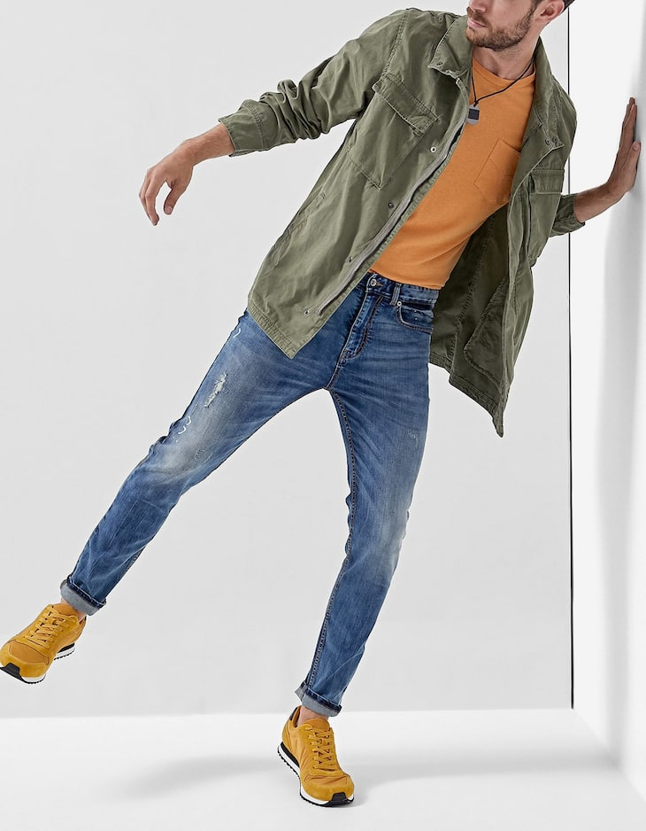 Skinny painted jeans