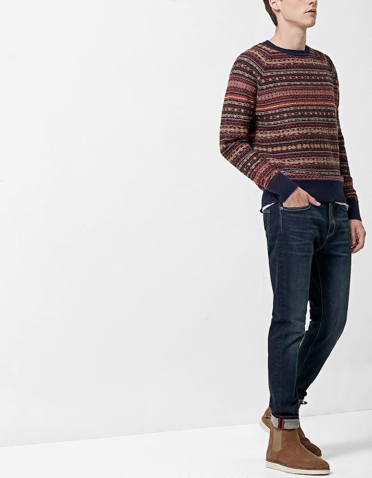 Inside-out effect jacquard sweater