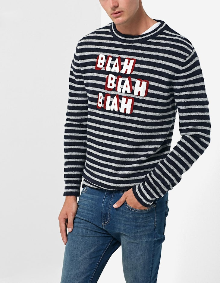 Striped sweater with slogan