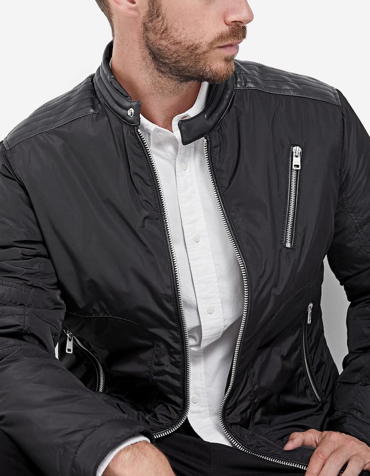 Jacket with faux leather trims
