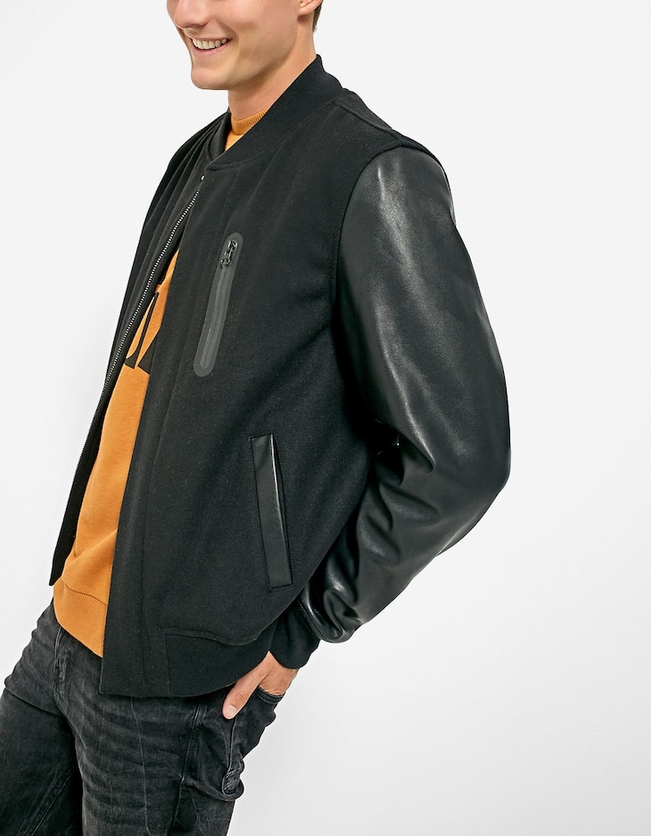 Cloth bomber jacket with faux leather sleeves