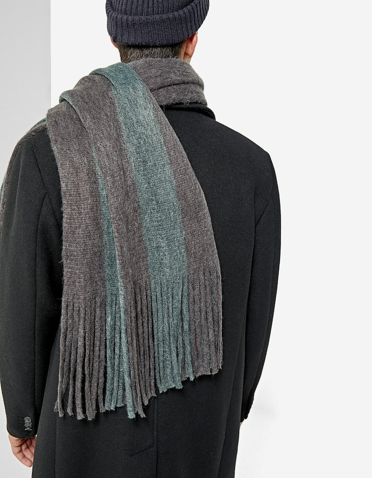 Striped brushed scarf
