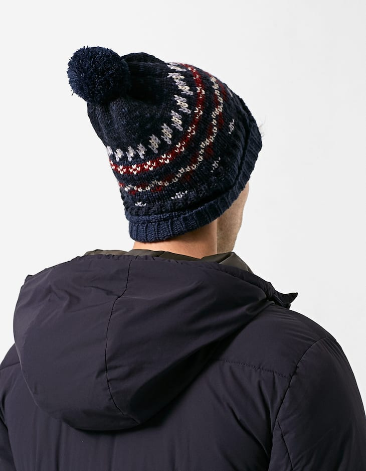 Printed hat with pompom