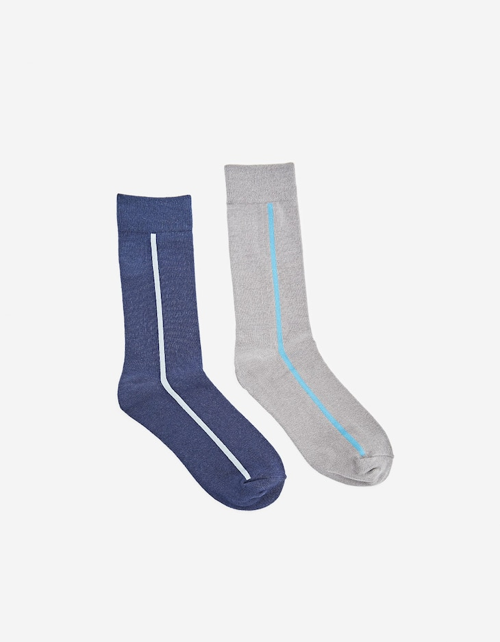 Pack of 2 pairs of long socks with side stripe