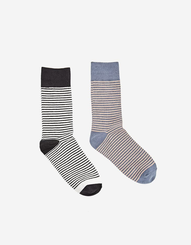 Pack of 2 pairs of long striped socks