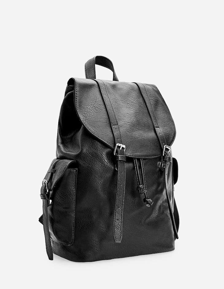 Faux leather backpack with straps