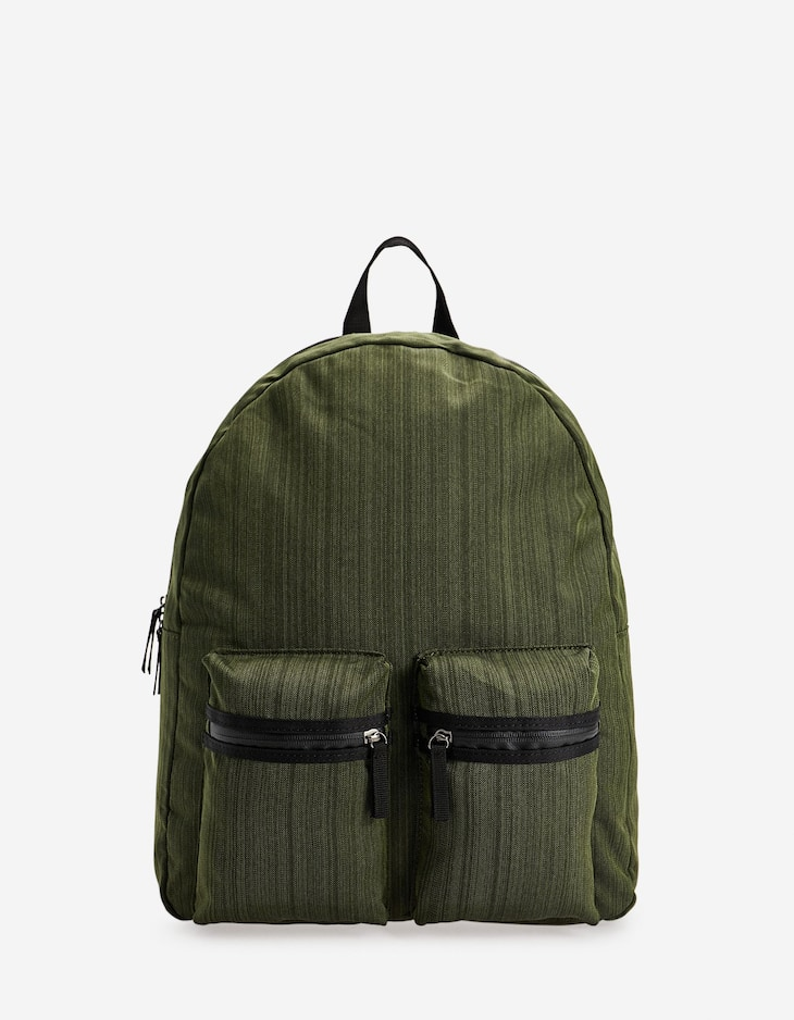 Flecked backpack with front pockets
