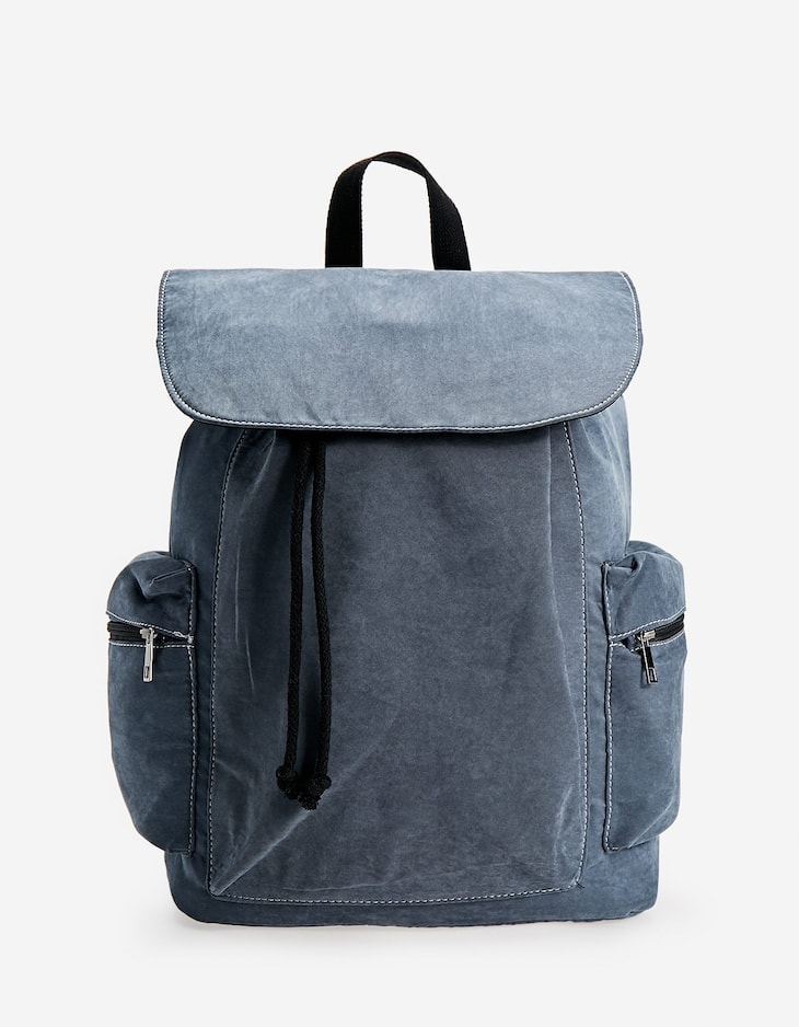 Faded backpack with front flap