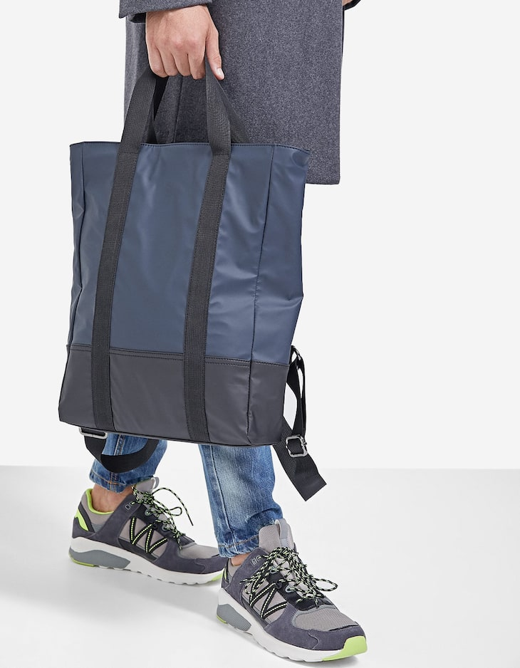 Tote-style backpack with rubber