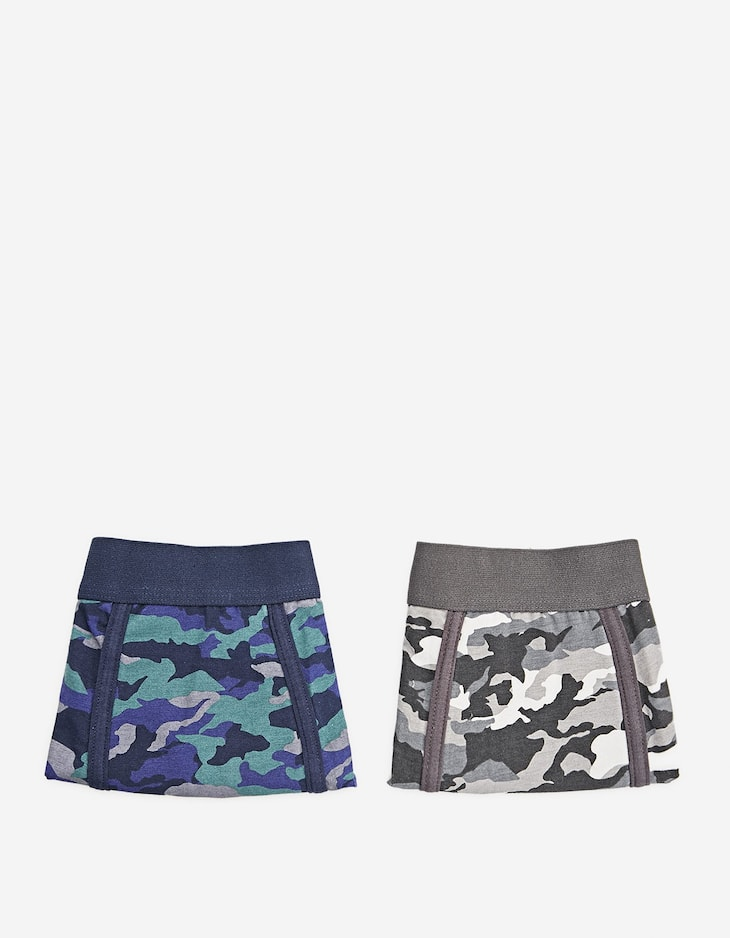Pack of 2 camouflage print boxers