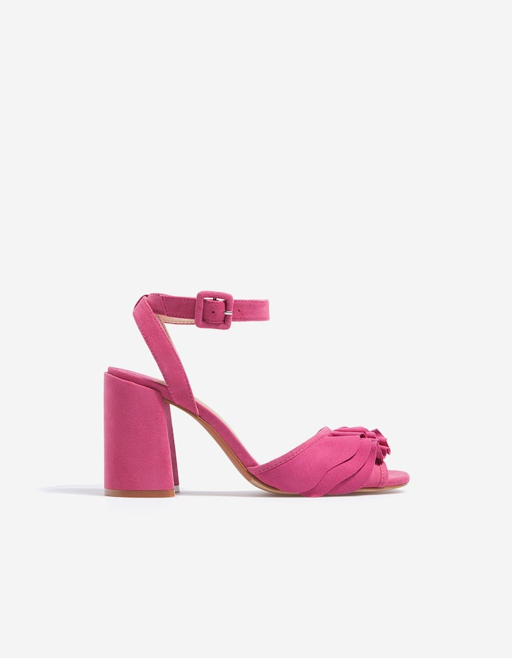 High heel sandals with frill trim