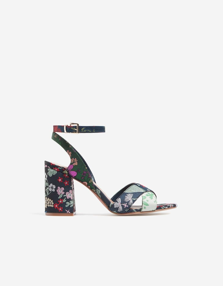 High heel floral fabric sandals