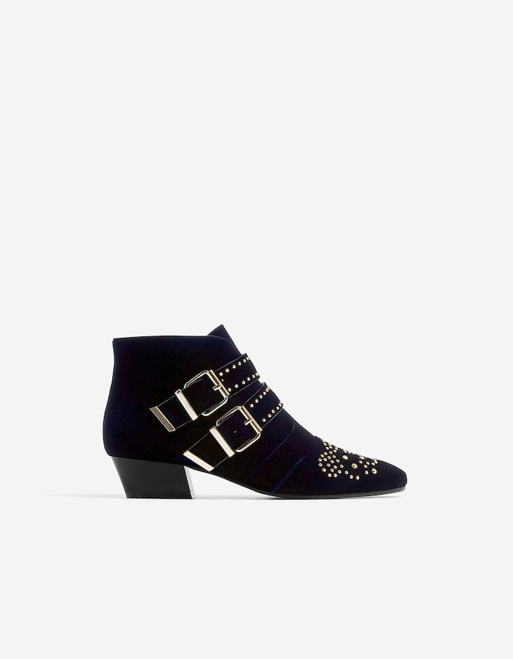 Blue velvet ankle boots with studs
