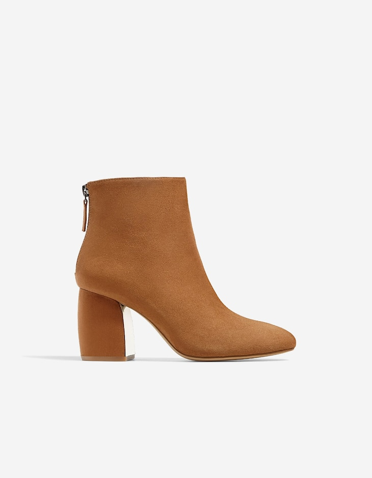 Brown ankle boots with heel detail