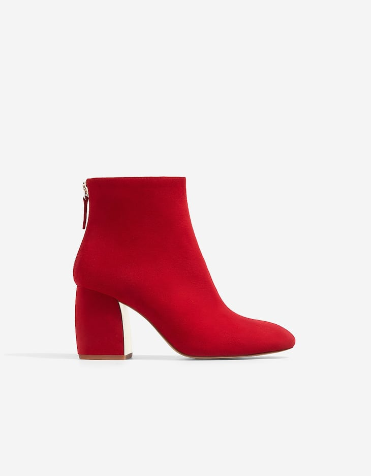 Red ankle boots with heel detail