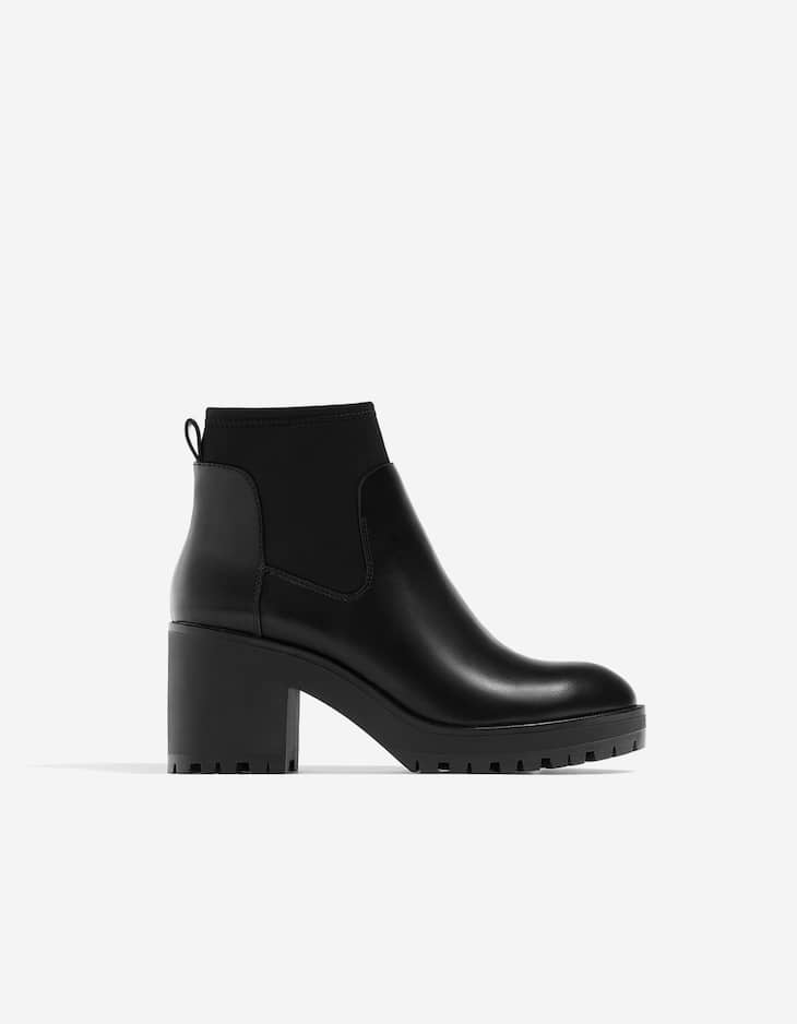 Black ankle boots with track soles
