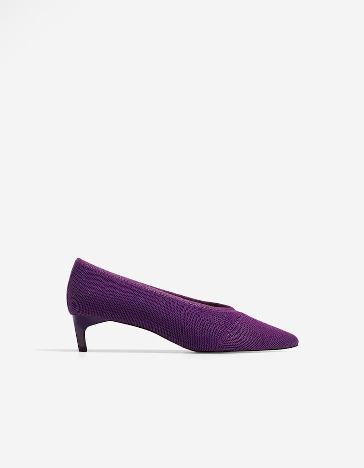 Fabric mid heel court shoes