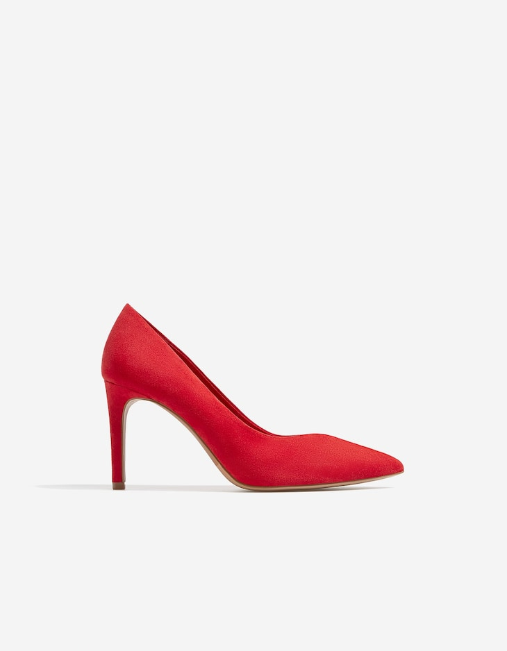 Red high heel court shoes with stiletto heels