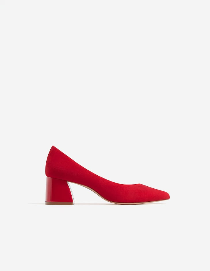 Red mid-heel court shoes