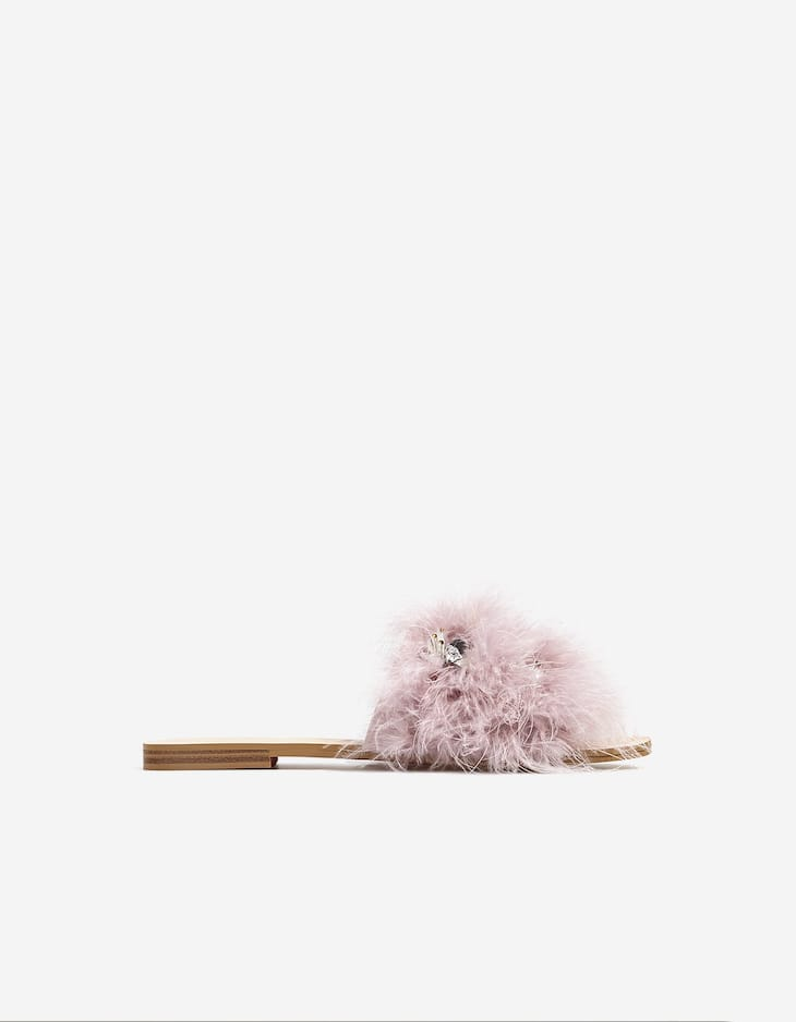 Bejewelled slides with feather strap