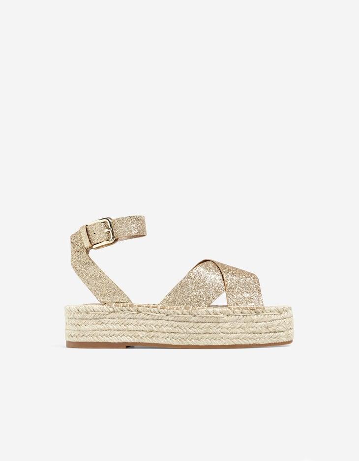 Glitter flatform sandals