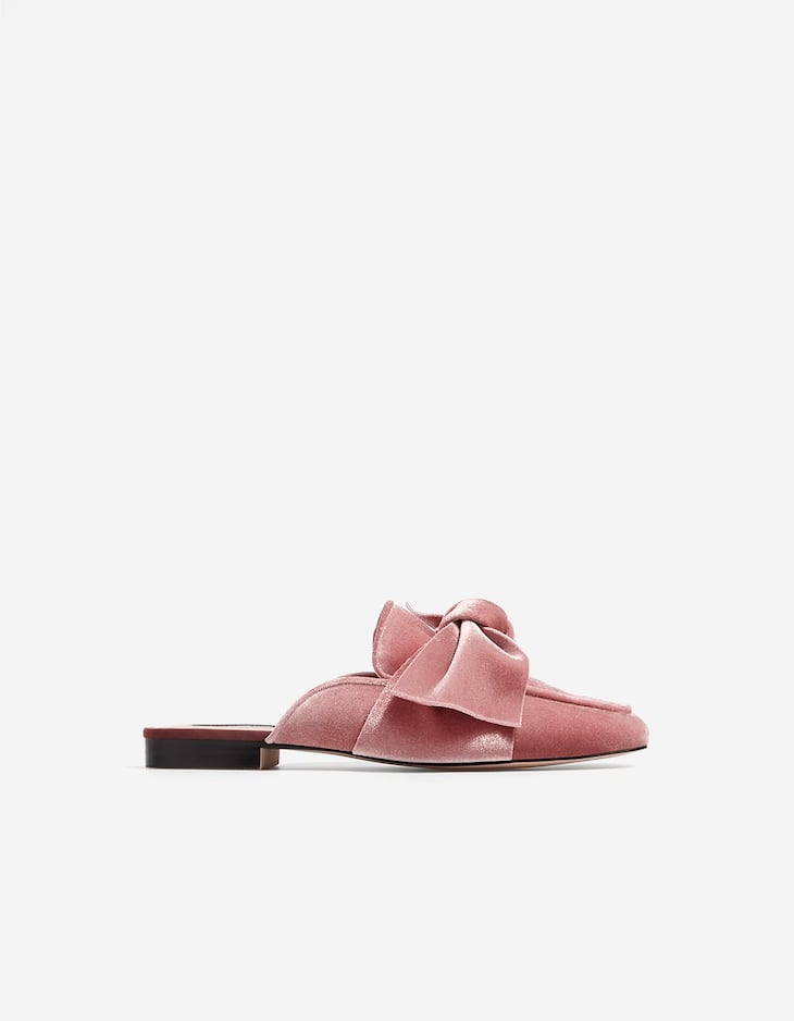 Velvet loafers with bow
